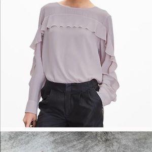 Ruffled front pale pink Banana Republic blouse